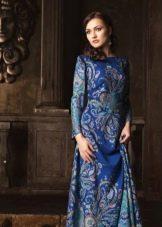 Платье из павлопосадских платков синее