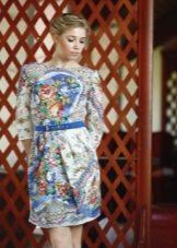 Платье из павлопосадских платков короткое