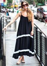 Длинное платье-мешок на бретелях для высоких