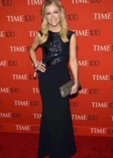 Длинное синее платье с крашенным пайетками топом на корпоратив