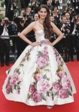 Длинное платье-бюстье с юбкой колокол с цветочным принтом