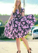 Цветочный принт на платье с юбкой солнце для полных