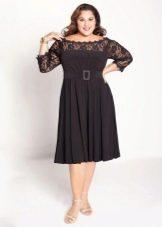 Черное платье с юбкой солнце для полных