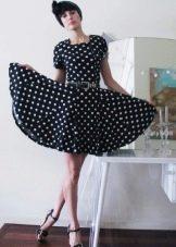Платье с юбкой солнце с маленьким рукавом