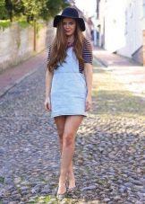 Короткое джинсовое платье-сарафан