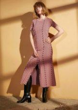 Шерстяное платье миди с разрезом