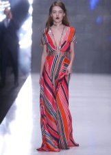 Шерстяное платье разноцветное