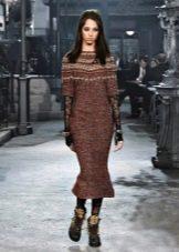 Шерстяное платье в полоску