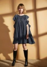 Шерстяное платье короткое с принтом