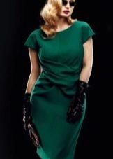 Шерстяное платье для полных зеленое