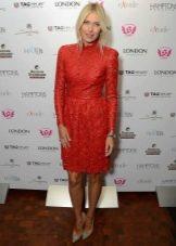 Платье из экокожи красное с перфорацией