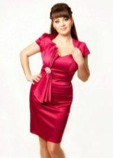 Платье из крепдешина красное для полных
