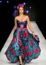 Платье из крепдешина открытое для полных