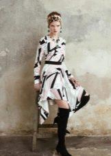 Платье из крепдешина короткое с принтом