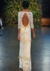 Платье с открытой спиной и коротким облегающим рукавом