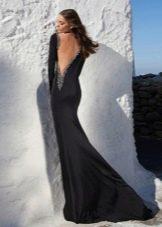 Платье русалка со шлейфом черное