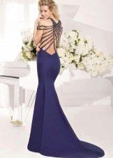 Платье русалка со шлейфом синее