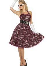 Платье в стиле ретро в горошек бордовое
