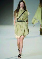 Платье-сафари в стиле ретро короткое