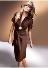 Платье-сафари в стиле ретро коричневое
