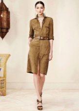 Платье-сафари в стиле ретро до колена