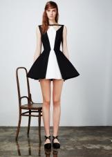 Приталенное  платье пышное черно-белое