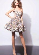 Приталенное  платье летнее короткое пыное