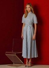 Приталенное  платье в полоску