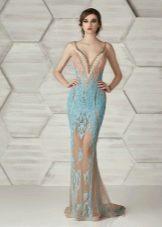 Приталенное  платье русалка бежевое
