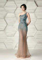Приталенное  платье русалка на одно плечо