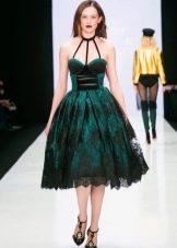 Приталенное  платье пышное средней длины