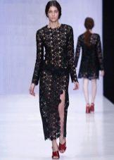 Приталенное  платье вязаное крючком