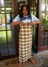 Саронг в качестве юбки - способ завязывания в Бирме