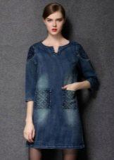 Зимнее платье-туника  джинсовое