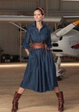 Зимнее платье джинсовое а-силуэта