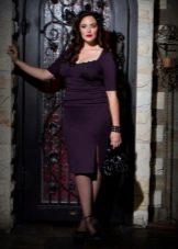 Зимнее платье для полных фиолетовое