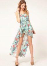Летнее платье для девочек короткое спереди длинное сзади