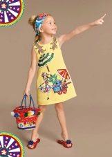 Летнее платье для девочек с принтом