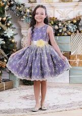 Платье А-силуэта короткое для девочки с принтом