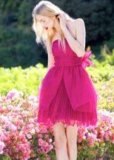 Платье лиловое в стиле беби долл короткое для девочки