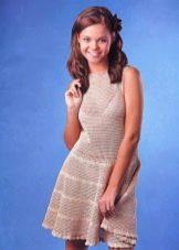 Летнее вязаное платье для девочек подростков