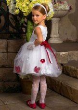 Летнее нарядное пышное платье для девочек белое с принтом