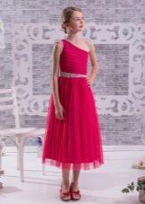 Нарядное вечернее платье для девочки на одно плечо