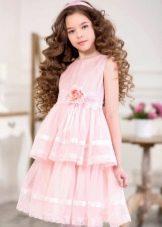 Нарядное платье для девочки короткое розовое
