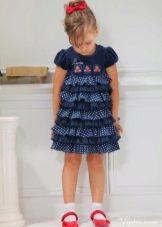 Нарядное многоярусное платье в горошек для девочки