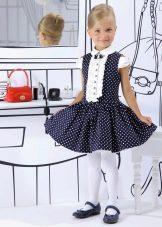 Нарядное синее платье в белый горошек для девочки