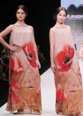 Нарядное платье для девочки в пол с цветочным принтом