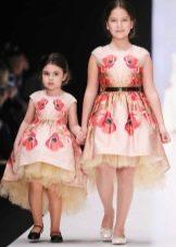 Нарядное платье для девочки хай-лоу с принтом