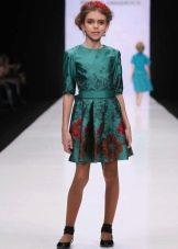 Нарядное платье для девочки короткое с цветочным принтом