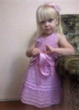 Нарядное платье для девочки вязаное крючком